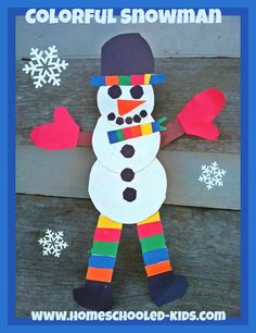 So adorable! This colorful snowman craft for kids is easy to make.