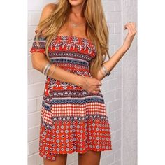 Tribal Geo Print Off-the-shoulder Mini Dress ($23) ❤ liked on Polyvore featuring dresses, off shoulder mini dress, off shoulder short dress, short-sleeve dresses, geo dress and off the shoulder short dress