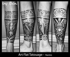 Tattoo polynésien carpe lotus soleil
