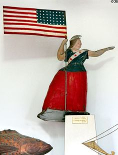 Goddess of Liberty weather vane with 45 star American flag by Cushing & White at Phelps-Hathaway House. Suffield, CT.