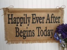 Burlap Reception Decor | Burlap WEDDING Banner, Happily Ever After, ceremony and/or reception ...