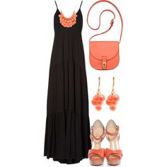 """Black & Coral"" by qtpiekelso on Polyvore"