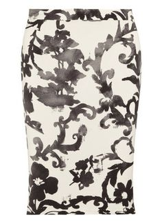 Put a graphic spin on your separates collection with Moschino Cheap and Chic's crepe pencil skirt. This monochrome piece will work wonderfully for day or night - just add a tonal top and your highest heels.