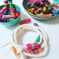 Felt cord and wrapped beads Textile Jewelry, Textile Artists, Cord, Felt, Textiles, Beads, Beading, Cable, Bead