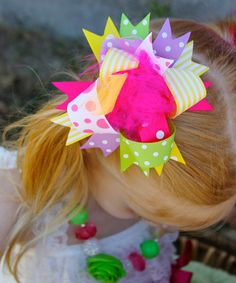 Take a look at the Hot Pink & Yellow Polka Dot Clip on #zulily today!