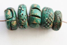 Rustic Polymer Clay Beads - Forest Green Large Handmade Rondelles - Organic Ancient Tribal - Set of 5 - The Bead Hutch (S11) by TheBlueHutch on Etsy https://www.etsy.com/listing/254946007/rustic-polymer-clay-beads-forest-green