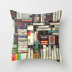 Cassettes, VHS & Games Throw Pillow by hollisbrownthornton Patio Pillows, Throw Cushions, Couch Pillows, Designer Throw Pillows, Down Pillows, Accent Pillows, Decorative Throw Pillows, Soft Furnishings, Pillow Design
