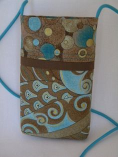 Etsy listing at https://www.etsy.com/listing/221537637/blue-brown-gold-bubbles-cellphone-pouch