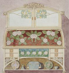 Gaspar Homar, Design drawings of Art Nouveau furniture, 1900-10. Watercolor, graphite, ink. Museu Nacional d'Art de Catalunya, Barcelona. Source