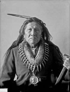 Shungathka or Shunethka (White Horse), Called Richard or Missouri Chief, Son of Ahhahchisawka, Otoe, in Partial Native Dress with Peace Medal and Bear Claw Necklace and Holding Pipe-tomahawk? - Gill - DEC 1899