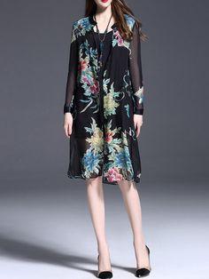 Black V Neck Silk Floral-print Casual Midi Dress