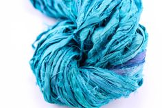 Turquoise: Reclaimed Silk Yarn Ribbon from DGY!