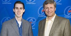 Robocall charges lead to unrest within Conservative party. (photo: Michael Sona, left, is seen with Prime Minister Stephen Harper in this undated photo released by the Prime Minister\'s Office. Sona has done media interviews complaining that the Conservative party is trying to make him the fall guy for the fraudulent robocall in Guelph, Ont.)