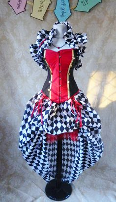 Queen of Hearts Harlequin Bustle Skirt-One Size Fits All. $59.00, via Etsy.