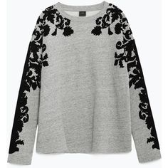 Zara Plush Flocked Sweatshirt ($40) ❤ liked on Polyvore featuring tops, hoodies, sweatshirts, grey marl, gray top, zara sweatshirt, grey top, grey sweat shirt and embellished tops