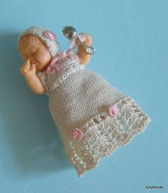 Amy, rubber doll in vintage style knitted outfit. by MiniaturesbyMarianne on Etsy