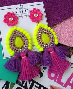 Fabric Jewelry, Diy Jewelry, Beaded Jewelry, Beaded Earrings, Statement Earrings, Crochet Earrings, Handmade Accessories, Jewelry Accessories, Mexican Crafts