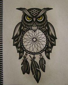 Owl filter of dreams by FraH Atrapasueños Tattoo, Tatoo Art, Tattoo Quotes, Clock Drawings, Owl Tattoo Drawings, Future Tattoos, New Tattoos, Cool Tattoos, Tatoos