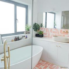 Pink Split Shift Three is part of Bert & May's handmade cement tile collection. Shop our range of quality tiles in plain or patterned styles, created using natural pigments. Funky Bathroom, White Bathroom Tiles, Bathroom Ideas, Family Bathroom, Pink Bathroom Decor, Bathtub Tile, Bathroom Goals, Bathroom Inspo, Budget Bathroom