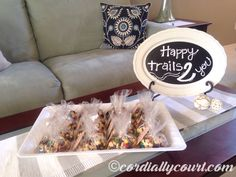 Baby shower favors! Trail mix favors. Woodland fox baby shower.   www.cordiallycourt.com