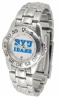 BYU Brigham Young University Ladies Stainless Steel Wristwatch by SunTime. $55.95. Officially Licensed Brigham Young Cougars Ladies Wristwatch. Links Make Watch Adjustable. Stainless Steel-Scratch Resistant Crystal. Women. Calendar Function With Rotating Bezel. BYU Brigham Young ladies stainless steel wristwatch. Women's Cougars watch comes with a stainless steel link bracelet. A date calendar function plus a rotating bezel/timer circles the scratch resistant crystal. The scratc...