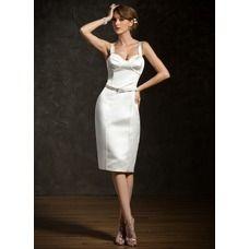 [€ 138.03] Sheath Sweetheart Knee-Length Satin Cocktail Dress With Sash (016008875)