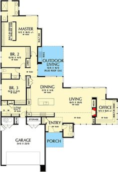 Contemporary House Plans, Modern House Plans, House Floor Plans, Kitchen Contemporary, Contemporary Design, Home Office Layouts, House Layouts, Master Suite, L Shaped House Plans