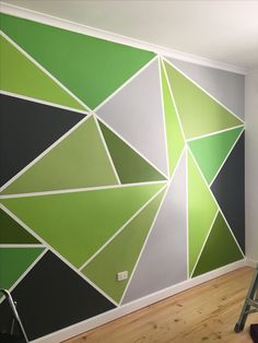 Lovely Triangle On Wall Painting Wall Arts Triangle Painted Feature Wall Wallpaper Painted Feature Wall, Feature Wall Bedroom, Geometric Wall Paint, Room Wall Painting, Wall Painting Design, Bedroom Wall Designs, Triangle Wall, Wall Patterns, Diy Wall Decor
