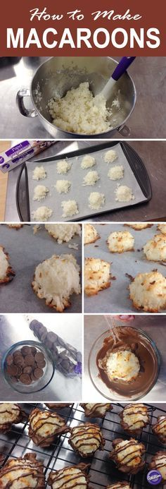 How to Make Macaroons - Macaroons are lumpy coconut cookies sometimes drizzled or dipped with chocolate. They are traditionally made with coconut, but they can also be made with almonds or other nuts. Here's a DIY tutorial on how to make these little coconut cookies!