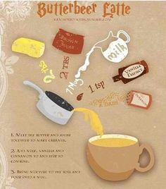 Butter beer latte. Just tried it and its SO good! Really easy too!