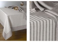 LOVE: ticking stripe tablecloth with linen border