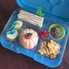 """Today's #yumbox #lunchbox has a ham and cheese wholemeal sandwich, banana, mandarin, raspberries, #prehistoric #dinosaur #arnottsshapes and a #macrowholefoodsmarket almond, goldenberries and #quinoa snack bite (#glutenfree, #eggfree, #dairyfree #blissball). #yumboxlunch #yumboxaustralia #yumboxinspiration #bento #bentolunch #lunchboxideas #lunchboxforkids #kidsfood #schoollunches #nudefood"" Photo taken by @bentolunchfun on Instagram, pinned via the InstaPin iOS App…"