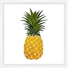 Create a delightful focal point in the den or add a pop of color to your gallery wall with this framed giclee print, showcasing a bright pineapple design. Food Art Painting, Easy Canvas Painting, Painting Collage, Easy Paintings, Canvas Art, Canvas Paintings, Pineapple Pictures, Pineapple Art, Pineapple Design