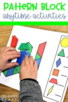 Math & literacy pattern block mats for any time during the day! Uppercase and lowercase letters, numerals, and more. Abc Phonics, Teaching Phonics, Math Literacy, Teaching Jobs, Kindergarten Activities, Teaching Resources, Teaching Ideas, Literacy Centers, Preschool Ideas