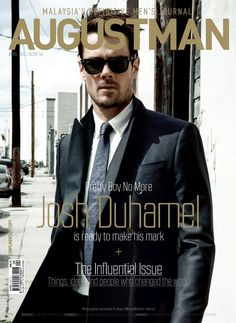 American actor Josh Duhamel wearing Burberry tailoring on the cover of the April Issue of August Man Malaysia  #magazine #cover #graphic #design #visual #impact #fashion #fame #celebrity #popculture
