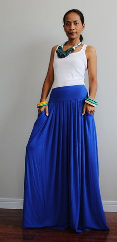 Blue Maxi Skirt   Long Skirt  Autumn Thrills Collection by Nuichan, $52.00