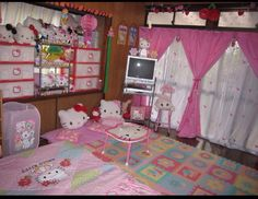 disarm you with a smile Hello Kitty Rooms, Hello Kitty House, Hello Kitty My Melody, Room Ideas Bedroom, Room Decor, Kawaii Bedroom, Cute Room Ideas, Pretty Room, Dream Rooms