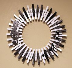 Treble Clef, music notes on piano key background clothespin wreath. Treble Clef, music notes on piano key background clothespin wreath. Piano Crafts, Music Crafts, Gift For Music Lover, Music Lovers, Music Notes Decorations, Music Party Themes, Music Themed Parties, Clothes Pin Wreath, Diy Vintage