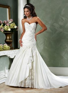 Love this taffeta and lace a line bridal gown by Maggie Sottero style Jovi Bridal Gown