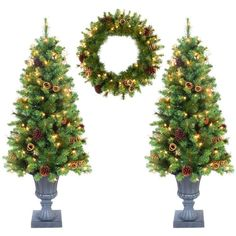 Prelit Christmas Trees Set Green 4-foot 3-piece Christmas Holiday Wreath Set New #Generic