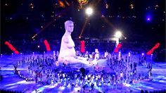 A large scale reproduction of Marc Quinn's celebrated sculpture 'Alison Lapper Pregnant' emerges during the Opening Ceremony of the London 2012 Paralympics at the Olympic Stadium.