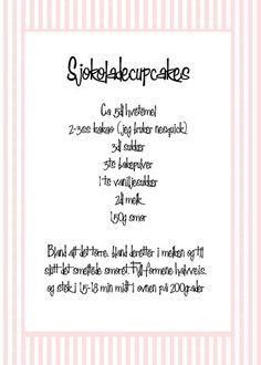 sjokoladecupcakes Cupcakes, Sweets, Baking, Cupcake Cakes, Gummi Candy, Candy, Bakken, Goodies, Backen