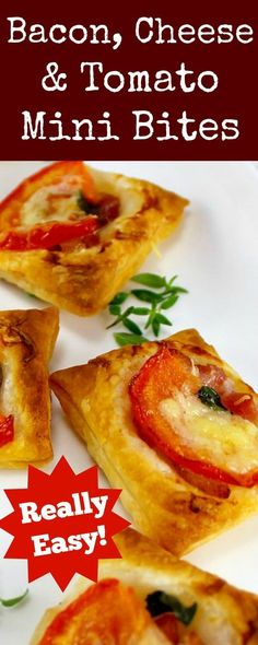 Bacon, Cheese and Tomato Bites. A very quick and easy to make and also flexible with your favorite toppings. Serve as party food, appetizers or a light brunch, lunch boxes.. the sky's the limit! Great for making ahead and freezing.| Lovefoodies.com
