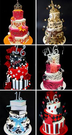 sweet sixteen cakes I like the book one in the bottom left Sweet 15 Cakes, Sweet Sixteen Cakes, Sweet Sixteen Parties, 15th Birthday Cakes, Sweet 16 Birthday Cake, Fancy Cakes, Cute Cakes, Crazy Cakes, Masquerade Cakes