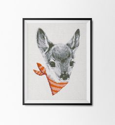"""Cute Deer cross stitch pattern  This is a fun and easy cross stitch pattern with amazing output. Perfect for home decor and gift for your beloved, family and friends!  ★★★ Pattern Details ★★★  DMC Colors: 8 Fabric: Aida 14 count Grid Size: 96W x 137H stitches Design Area: 6.86w x 9.79h (17.4x 24.9cm)   Approximate Output size: 14 count aida – 6.86w x 9.79h (17.4x 24.9cm) 16 count aida –6""""w x 8.56""""h (15.2 x 21.7 cm) 18 count aida – 5.33w x 7.61h (13.5 x19.3cm)  This pattern is included: 1…"""
