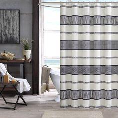 GAME ROOM BATH - INK+IVY Kora Black 100-percent Cotton Shower Curtain