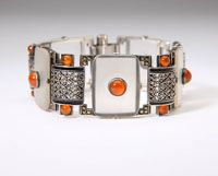Lot# 1033 A carnelian, marcasite and silver bracelet, Theodore Fahrner, Sold $1440