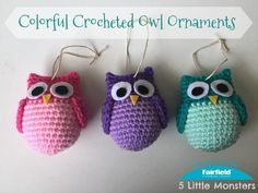 Looking for a quick and cute little ornament for your Christmas tree? Well look no further, these cute and colorful little crocheted owls work up really fast and can be made in whatever colors you choose. For a fun, whimsical look you can go with bright colors like I did. If you want a little bit more woodsy look you can make them in browns or even all white for a snowy owl. Stuffed with Poly-Fil they are really light which is perfect for hanging on the tree. The bodies are crocheted in one…