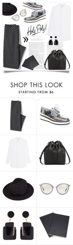 """""""HOLY POLY!"""" by lklmntna ❤ liked on Polyvore featuring Lands' End, Shellys, MANGO, Oliver Peoples, Marni, Volant, monochrome and fashionset"""