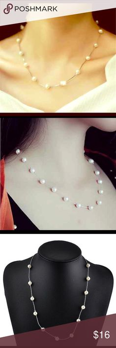"""PEARL NECKLACE Beautiful 24.5"""" silver alloy chain with 8mm white pearls!! Elegant! The Silver Scot Jewelry Necklaces"""